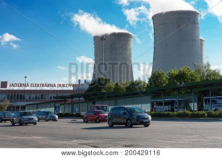 Dukovany Czech Republic - July 3 2017 : Parking space before entering the nuclear power station Dukovany on July 3, 2017 in Dukovany Czech Republic