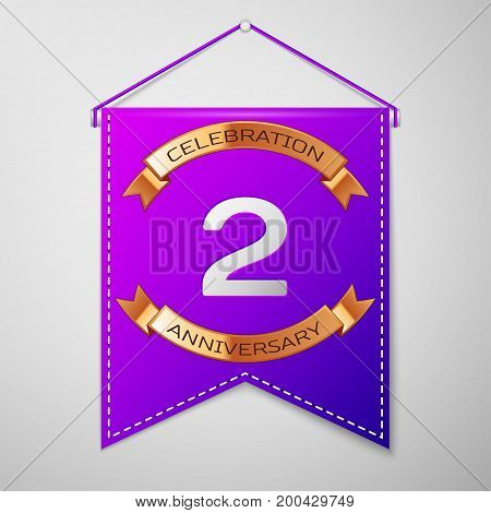 Realistic Purple pennant with inscription Two Years Anniversary Celebration Design on grey background. Golden ribbon. Colorful template elements for your birthday party. Vector illustration