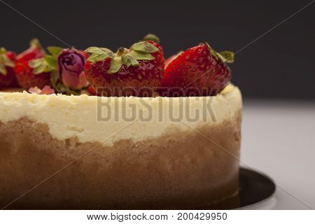 White Chocolate Cake With Berries With Beauty Background.