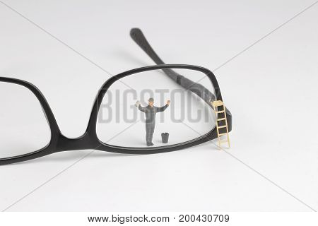Min Worker Clear Reading Glasses. Business Concept