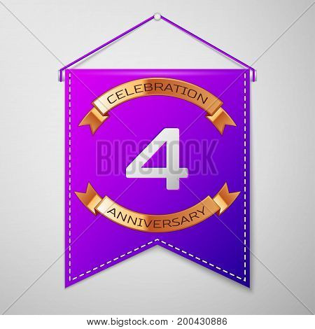 Realistic Purple pennant with inscription Four Years Anniversary Celebration Design on grey background. Golden ribbon. Colorful template elements for your birthday party. Vector illustration