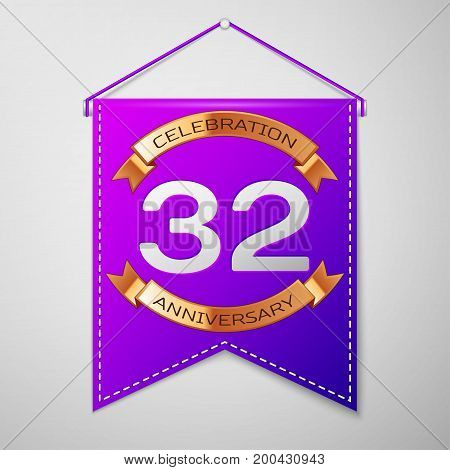 Realistic Purple pennant with inscription Thirty two Years Anniversary Celebration Design on grey background. Golden ribbon. Colorful template elements for your birthday party. Vector illustration
