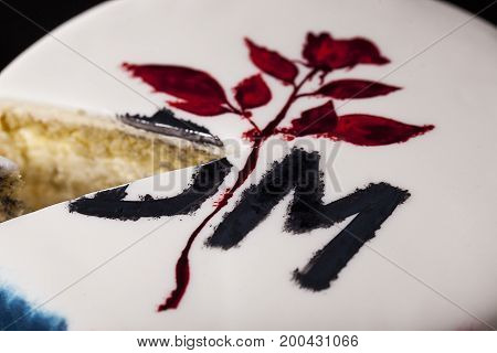 Painted Cake With Rose And Letter On Beauty Background.