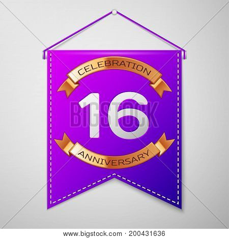 Realistic Purple pennant with inscription Sixteen Years Anniversary Celebration Design on grey background. Golden ribbon. Colorful template elements for your birthday party. Vector illustration