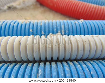 electric wire pipes installed on a concrete floor