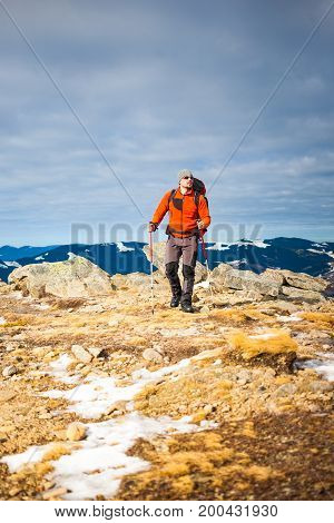 Mountaineer With A Backpack.