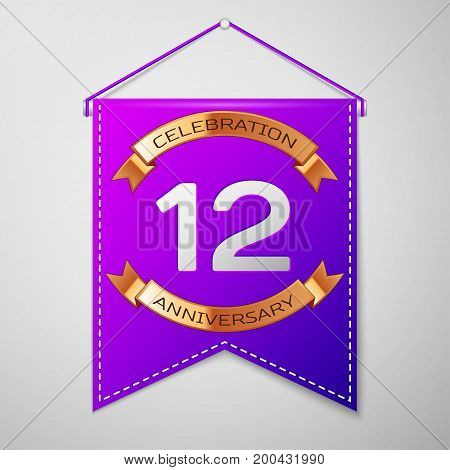 Realistic Purple pennant with inscription Twelve Years Anniversary Celebration Design on grey background. Golden ribbon. Colorful template elements for your birthday party. Vector illustration