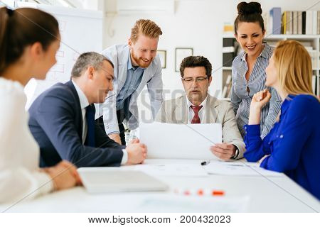 Business people meeting and a busy day at the office