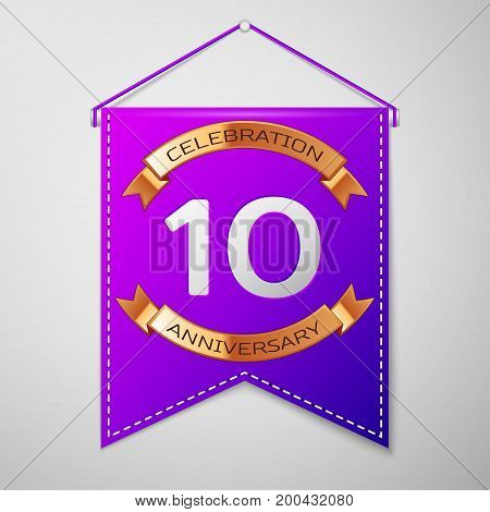 Realistic Purple pennant with inscription Ten Years Anniversary Celebration Design on grey background. Golden ribbon. Colorful template elements for your birthday party. Vector illustration