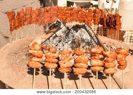 Grilled Meat Skewers Cooked On The Fire At Street Food Festival