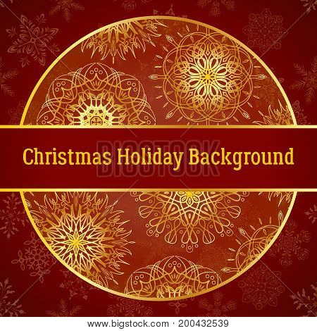 Holiday Christmas Background, Golden Decorated Circle on Red Pattern with Snowflakes, Illustration for Your Design