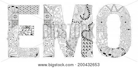 Hand-painted art design. Adult anti-stress coloring page. Black and white hand drawn illustration word emo for coloring book
