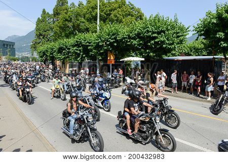 Bykers Of The Parade To The Swiss Harley Days At Lugano On Switzerland