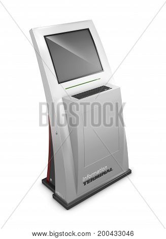 3D Illustration Of Realistic Interactive Information Kiosk Terminal