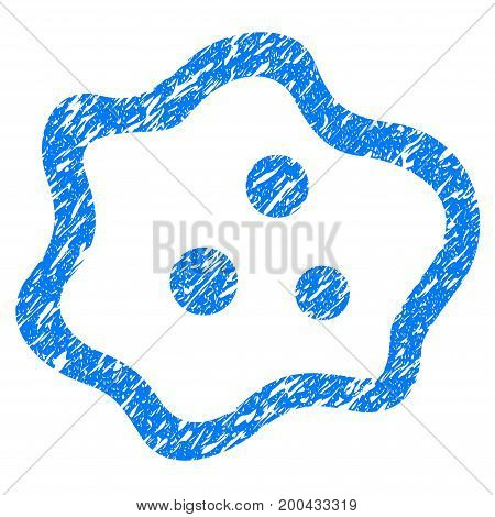 Grunge Amoeba icon with grunge design and unclean texture. Unclean vector blue pictogram for rubber seal stamp imitations and watermarks. Draft sign symbol.