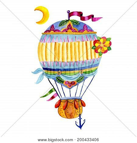 Air balloon and a garland of flags, painted in watercolor. Aerostat Isolated on white background. Suitable for postcards, congratulations on birthdays, prints on pillows, T-shirts, bags
