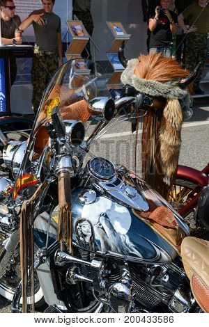 Lugano Switzerland - 4 July 2015: Bykers of the parade to the Swiss Harley Days at Lugano on Switzerland on Switzerland