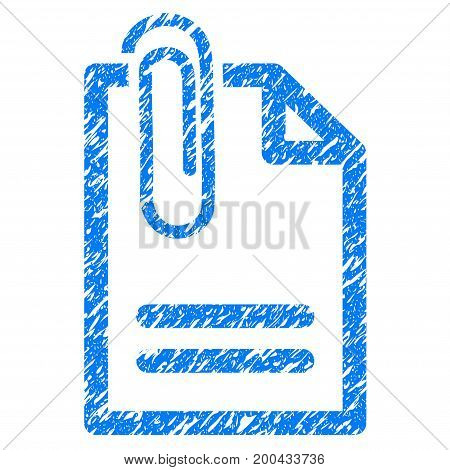 Grunge Attach Document icon with grunge design and unclean texture. Unclean vector blue pictogram for rubber seal stamp imitations and watermarks. Draft sign symbol.