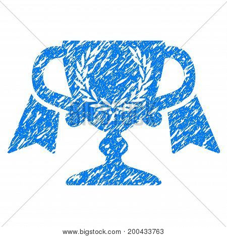 Grunge Award Cup icon with grunge design and unclean texture. Unclean vector blue pictogram for rubber seal stamp imitations and watermarks. Draft sign symbol.