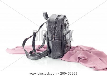 Black, new, female bag on a white background closeup