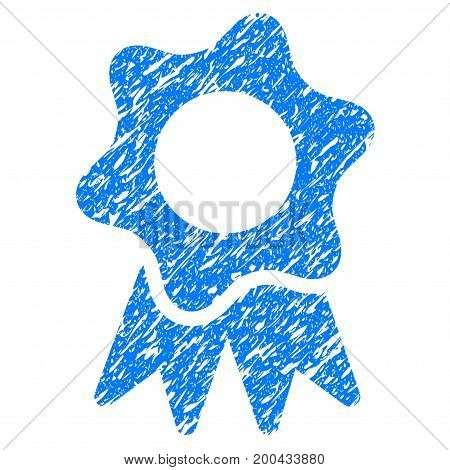Grunge Award Seal icon with grunge design and scratched texture. Unclean vector blue pictogram for rubber seal stamp imitations and watermarks. Draft sticker symbol.