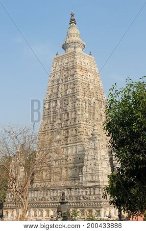 Mahabodhy Temple complex in the Bodhgaya city in India