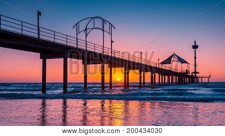 Brighton Beach jetty silhoutte at sunset South Australia