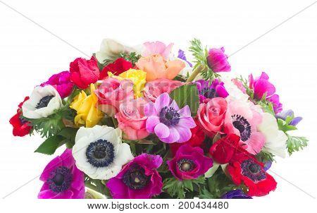 Fresh colorful Anemones and roses flowers bouqet isolated on white background