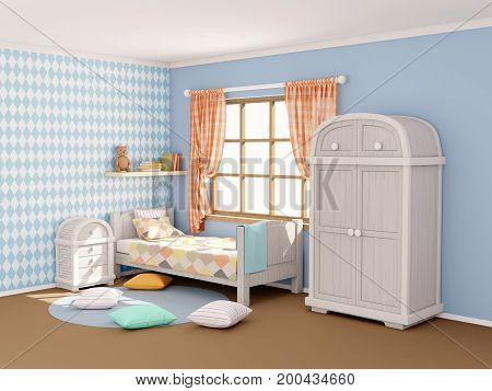 children's room in vintage country style with rhombuses. 3d illustration