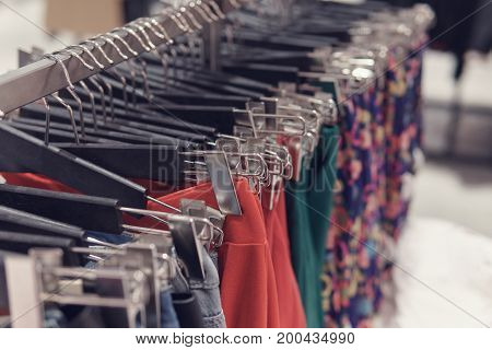 Selective Focus Skirts Hanged On A Clothes Rack.