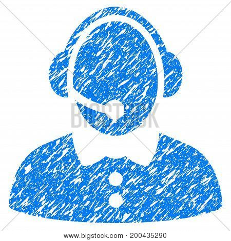 Grunge Call Center Woman icon with grunge design and dust texture. Unclean vector blue pictogram for rubber seal stamp imitations and watermarks. Draft sticker symbol.