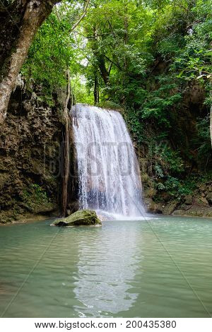 Third tier of Erawan Waterfall in Erawan National Park located at Kanchanaburi Thailand.