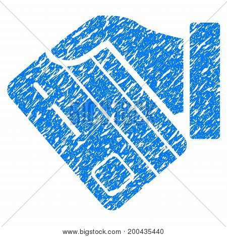 Grunge Card Payment icon with grunge design and dirty texture. Unclean vector blue pictogram for rubber seal stamp imitations and watermarks. Draft emblem symbol.
