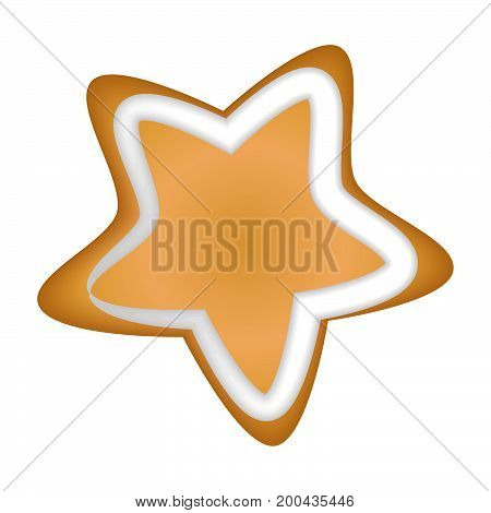 Gingerbread cookie with a glaze. Homemade pastrie with spices. Isolated on white background without shadow. Christmas cookies. Christmas star.