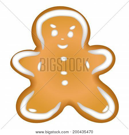 Gingerbread cookie with a glaze. Homemade pastrie with spices. Isolated on white background without shadow. Christmas cookies. Gingerbread man.