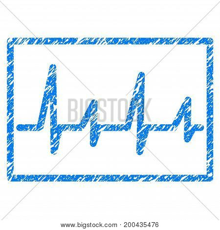 Grunge Cardiogram icon with grunge design and scratched texture. Unclean vector blue pictogram for rubber seal stamp imitations and watermarks. Draft sign symbol.