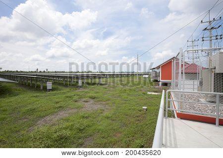 Solar panels in solar farms blue sky background