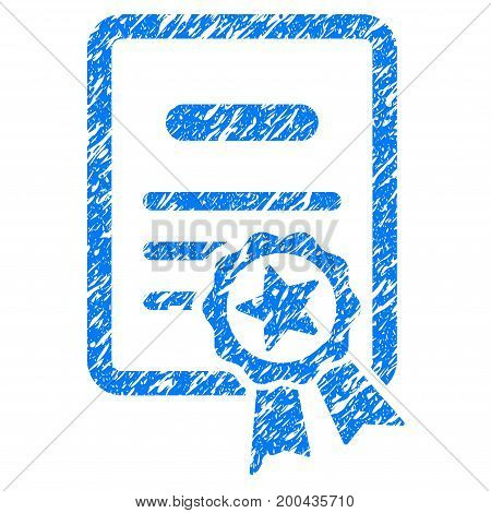 Grunge Certified Diploma icon with grunge design and dirty texture. Unclean vector blue pictogram for rubber seal stamp imitations and watermarks. Draft emblem symbol.
