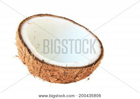 Save Download Preview fresh coconut half clipping path for coconut milk and brown coconut shell on white background fruit food isolated