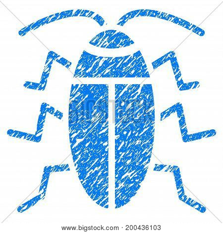 Grunge Cockroach icon with grunge design and unclean texture. Unclean vector blue pictogram for rubber seal stamp imitations and watermarks. Draft emblem symbol.