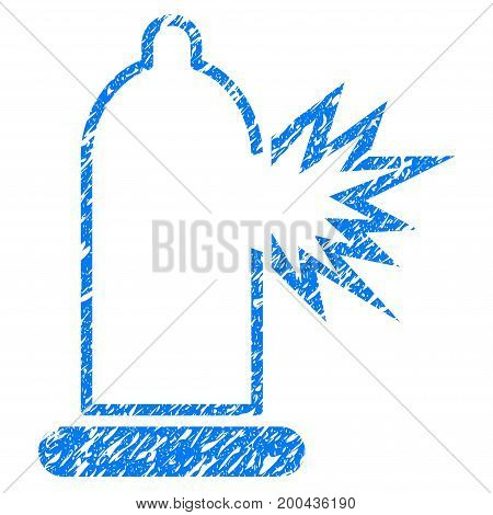 Grunge Condom Damage icon with grunge design and dust texture. Unclean vector blue pictogram for rubber seal stamp imitations and watermarks. Draft sticker symbol.