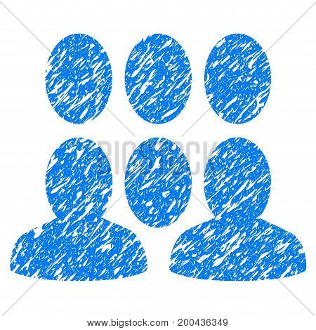 Grunge Crowd icon with grunge design and dust texture. Unclean vector blue pictogram for rubber seal stamp imitations and watermarks. Draft sign symbol.