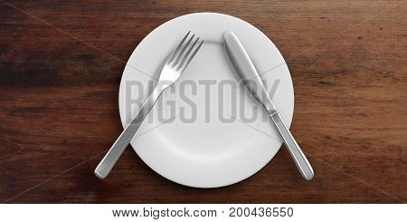 Place Setting, Pause Signal, On Wooden Background. 3D Illustration