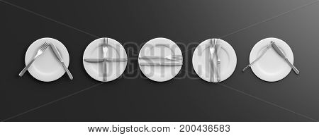 Place Settings, Waiter Signals On Black Background. 3D Illustration