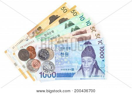 Different value South korean currency bills and coins save your money concept