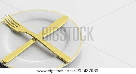 Place Setting, Second Plate Signal, On White Background. 3D Illustration