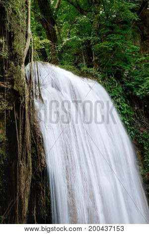 Close up of Erawan Waterfall at third tier in Erawan National Park Kanchanaburi province Thailand.
