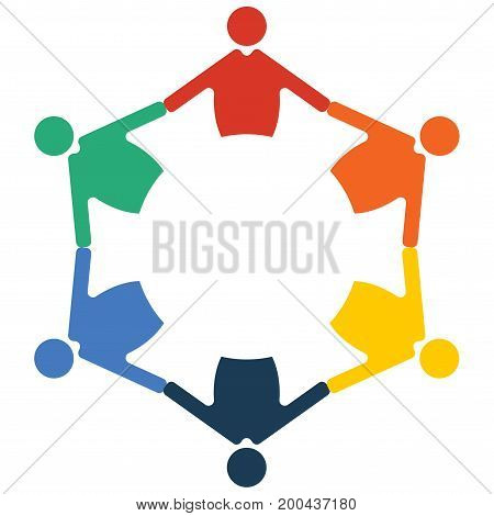 Family Reunion or Diversity group or community. Round table and diverse people teamwork cooperation circle symbol. Great as cultural and racial diversity partnership promotion. Multiculti icon.