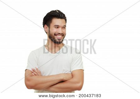 Asian Handsome Man With A Mustache, Smiling And Laughing Isolated On White Background