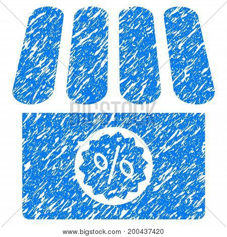Grunge Drugstore Sale icon with grunge design and dust texture. Unclean vector blue pictogram for rubber seal stamp imitations and watermarks. Draft sign symbol.